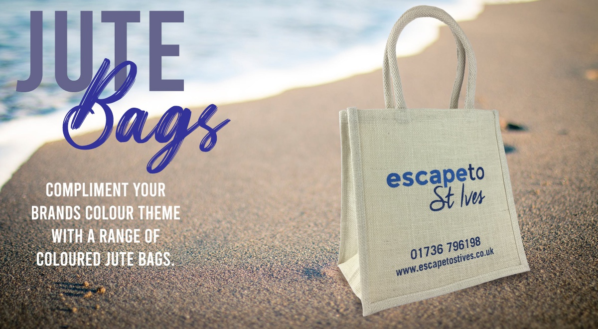 White Jute Bags with Bespoke Print