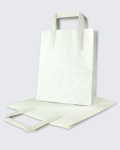 Bleached white Kraft carrier bags with flat handles